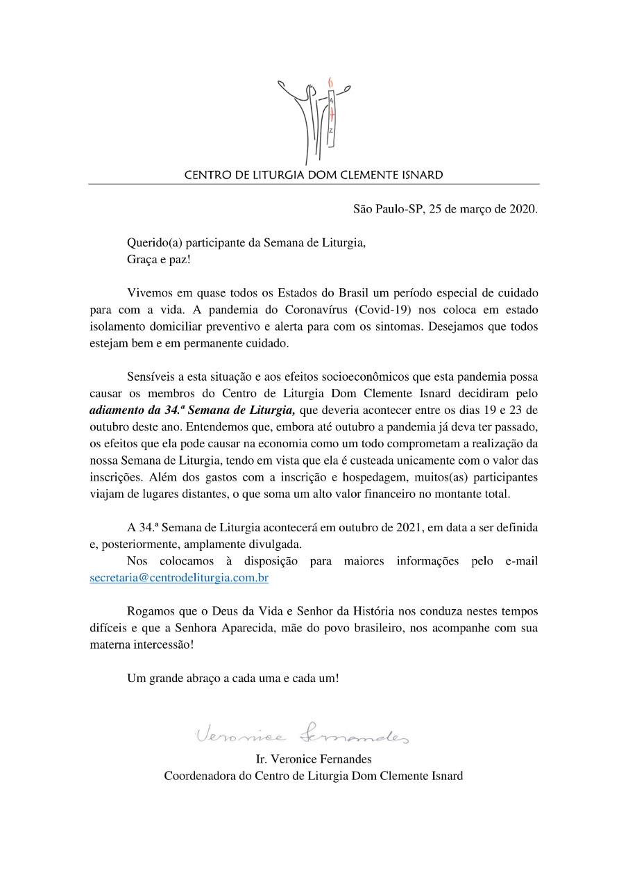 Adiamento da 34ª Semana de Liturgia de 2020 para outubro de 2021